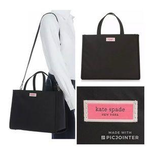 Kate Spade ♠️ Large Sam Nylon Satchel Black & Pink